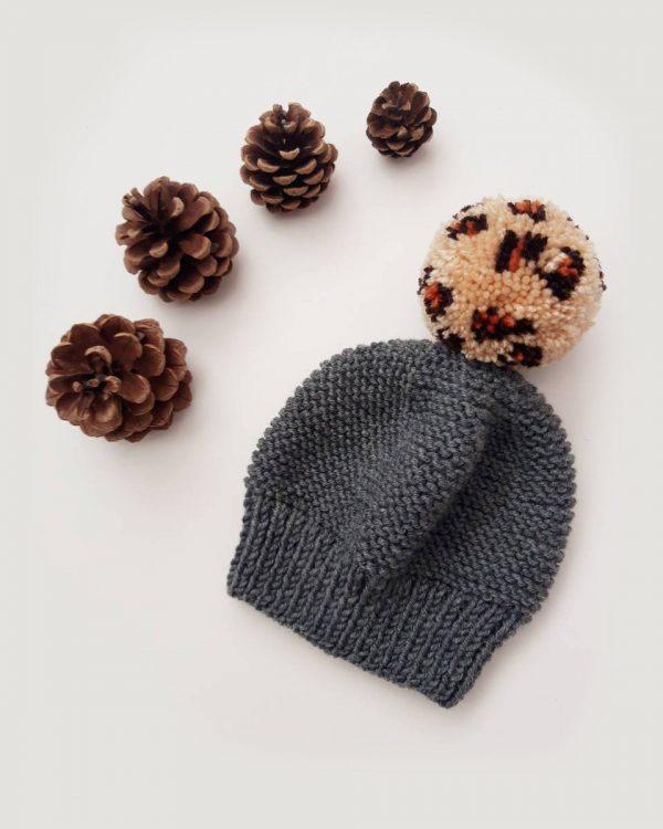 Leopard beanie bobble hat